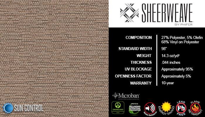 SheerWeave 5000 Bark Tiger Oak