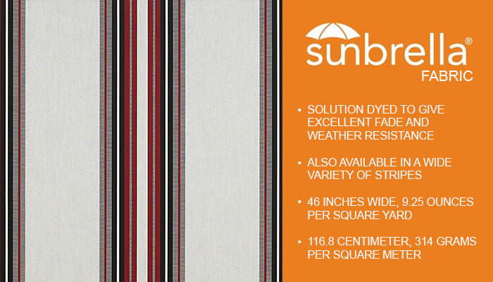 Sunbrella Stripe Burgundy Black White