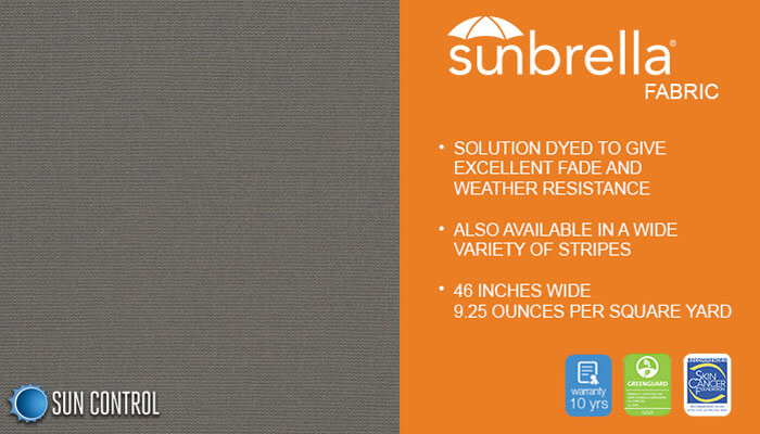 Sunbrella Solid Charcoal Grey