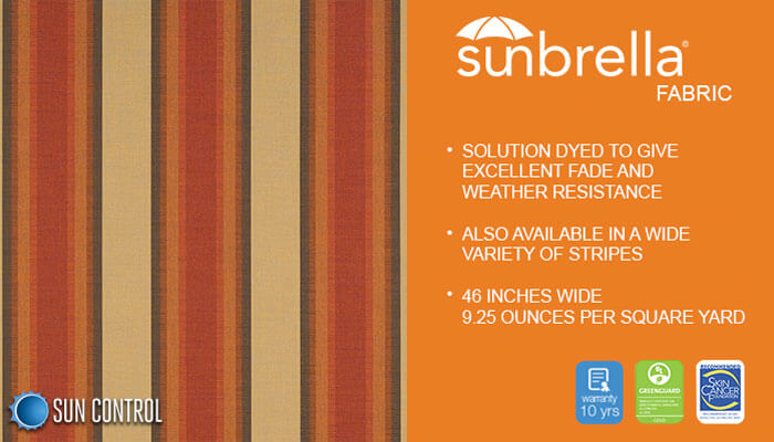 Sunbrella Stripe Colonnade Redwood