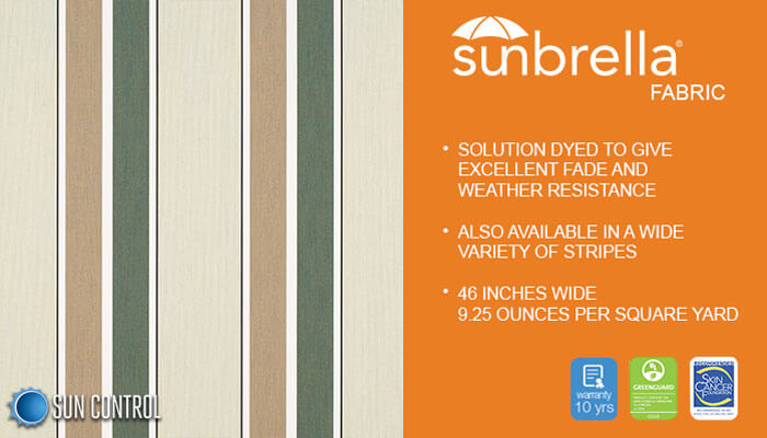 Sunbrella Stripe Fern Heather Beige Block Stripe