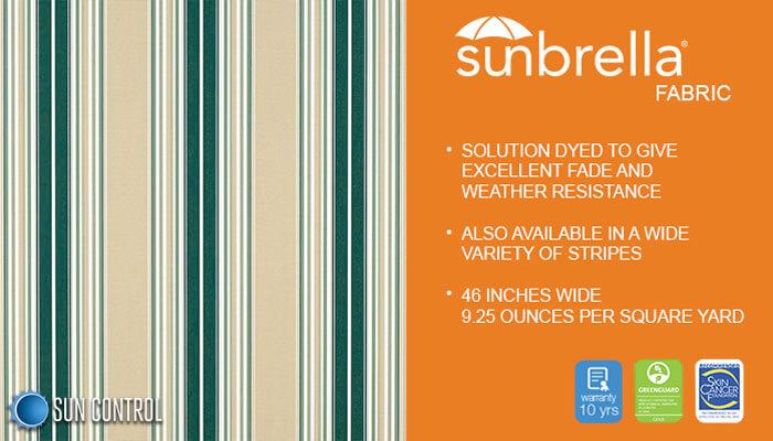Sunbrella Stripe Forest Green Beige Natural Fancy Stripe