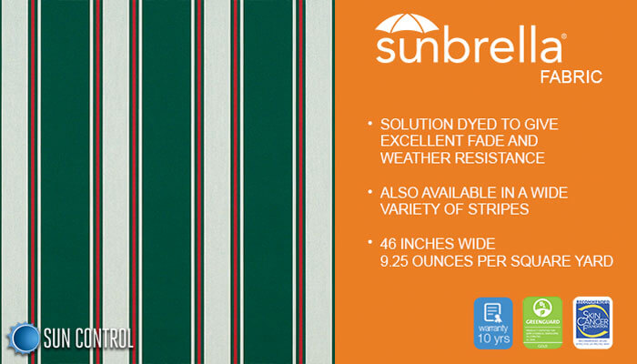 Sunbrella Stripe Forest Green Fancy