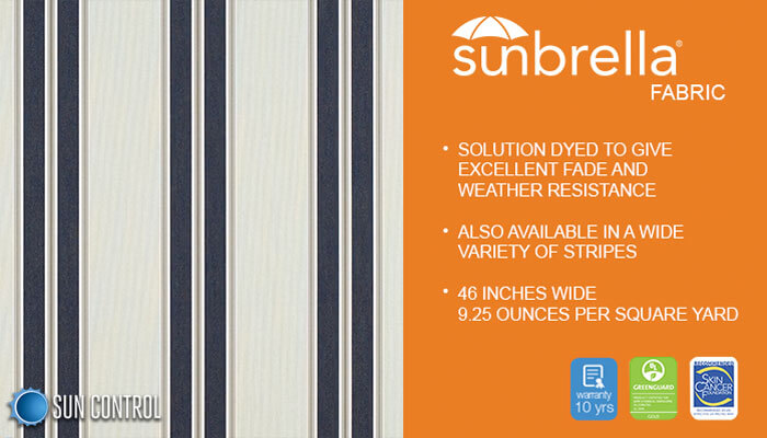 Sunbrella Stripe Navy Taupe Fancy