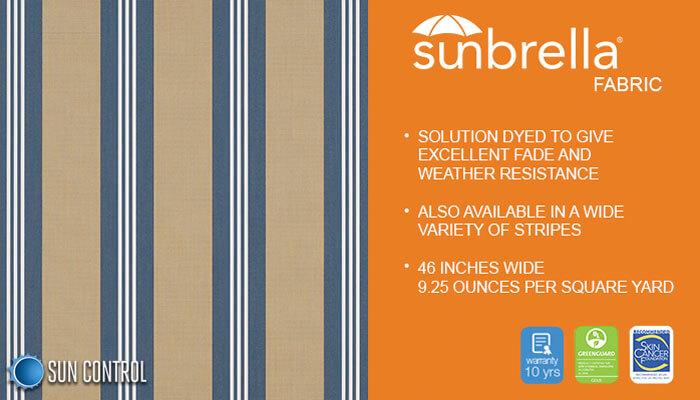 Sunbrella Stripe Sapphire Vintage Bar Stripe