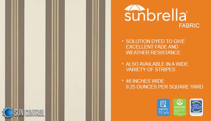 Sunbrella Stripe Taupe Tailored Bar Stripe